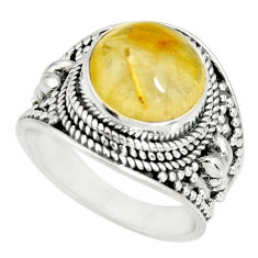 6.15cts natural golden rutile 925 silver solitaire ring jewelry size 8 r27549