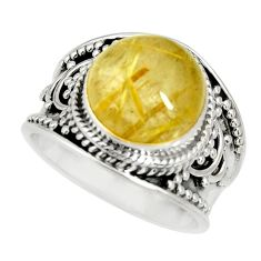 5.95cts natural golden rutile 925 silver solitaire ring jewelry size 8 r27555