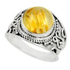 5.69cts natural golden rutile 925 silver solitaire ring jewelry size 9 r27546