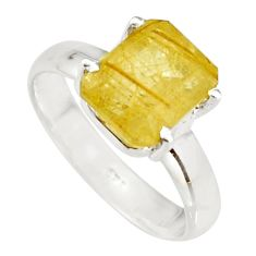 4.22cts natural golden rutile 925 sterling silver faceted ring size 8 r19146