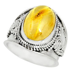 6.80cts natural golden rutile 925 sterling silver solitaire ring size 6.5 r27560
