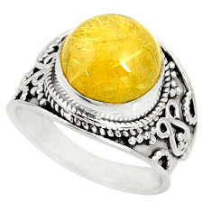 6.12cts natural golden rutile 925 sterling silver solitaire ring size 8 r27557