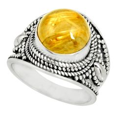 6.17cts natural golden rutile 925 sterling silver solitaire ring size 8 r27558