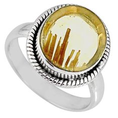 7.82cts natural golden star rutilated quartz 925 silver ring size 7.5 r60291