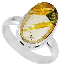 7.04cts natural golden star rutilated quartz 925 silver ring size 7.5 r60293