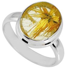 6.27cts natural golden star rutilated quartz 925 silver ring size 7.5 r60296
