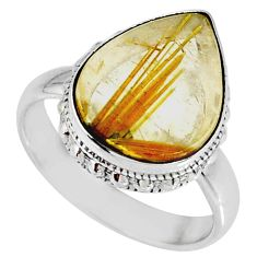 7.88cts natural golden star rutilated quartz 925 silver ring size 7.5 r60330
