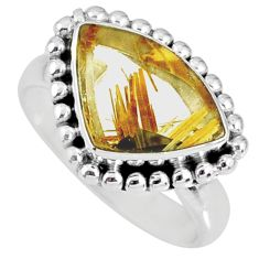 6.31cts natural golden star rutilated quartz 925 silver ring size 8.5 r60341