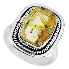 6.62cts natural golden star rutilated quartz 925 silver ring size 7.5 r60374