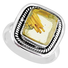6.26cts natural golden star rutilated quartz 925 silver ring size 7.5 r60379