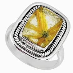 5.95cts natural golden star rutilated quartz 925 silver ring size 7.5 r60382
