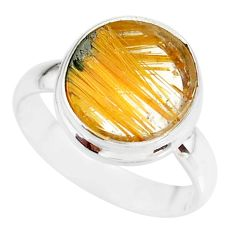5.87cts natural golden star rutilated quartz 925 silver ring size 8.5 r86526