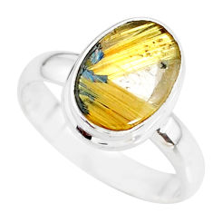 4.69cts natural golden star rutilated quartz 925 silver ring size 8.5 r86528