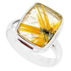 7.71cts natural golden star rutilated quartz 925 silver ring size 8.5 r86529