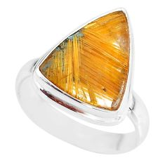 9.43cts natural golden star rutilated quartz 925 silver ring size 8.5 r86532
