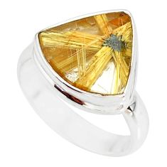 7.91cts natural golden star rutilated quartz 925 silver ring size 7.5 r86533