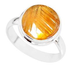 9.05cts natural golden star rutilated quartz 925 silver ring size 9.5 r86538