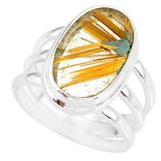 8.42cts natural golden star rutilated quartz 925 silver ring size 7.5 r86542