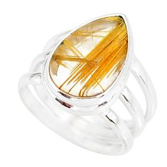 7.83cts natural golden star rutilated quartz 925 silver ring size 6.5 r86543