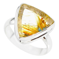 12.10cts natural golden star rutilated quartz 925 silver ring size 8.5 r86546