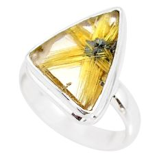 10.31cts natural golden star rutilated quartz 925 silver ring size 7.5 r86554