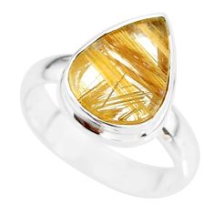 5.24cts natural golden star rutilated quartz 925 silver ring size 6.5 r86556