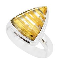 5.51cts natural golden star rutilated quartz 925 silver ring size 6.5 r86559