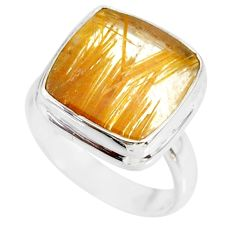 11.04cts natural golden star rutilated quartz 925 silver ring size 6.5 r86560