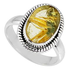 4.92cts natural golden star rutilated quartz 925 silver ring size 7 r60302
