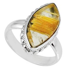7.54cts natural golden star rutilated quartz 925 silver ring size 7 r60336