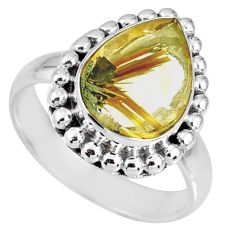 5.53cts natural golden star rutilated quartz 925 silver ring size 7 r60346