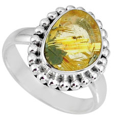5.38cts natural golden star rutilated quartz 925 silver ring size 7 r60359