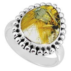 6.26cts natural golden star rutilated quartz 925 silver ring size 7 r60375