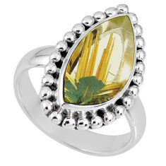 7.11cts natural golden star rutilated quartz 925 silver ring size 7 r60378