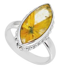 7.53cts natural golden star rutilated quartz 925 silver ring size 7 r60381