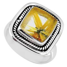 6.02cts natural golden star rutilated quartz 925 silver ring size 7 r60400