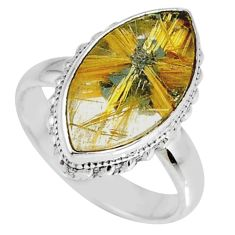 8.43cts natural golden star rutilated quartz 925 silver ring size 7 r60413