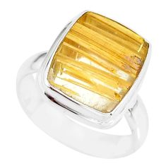 8.05cts natural golden star rutilated quartz 925 silver ring size 7 r86527