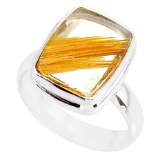 7.02cts natural golden star rutilated quartz 925 silver ring size 7 r86549