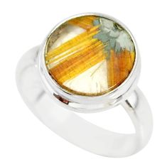 5.54cts natural golden star rutilated quartz 925 silver ring size 7 r86550