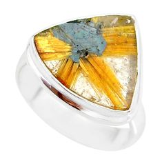 9.96cts natural golden star rutilated quartz 925 silver ring size 7 r86558