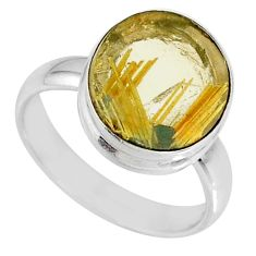 5.58cts natural golden star rutilated quartz 925 silver ring size 8 r60283