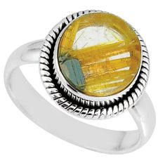 5.87cts natural golden star rutilated quartz 925 silver ring size 8 r60318