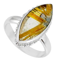12.10cts natural golden star rutilated quartz 925 silver ring size 8 r60321