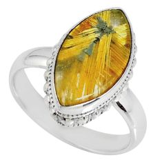 8.42cts natural golden star rutilated quartz 925 silver ring size 8 r60332