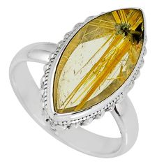 12.60cts natural golden star rutilated quartz 925 silver ring size 8 r60334
