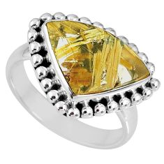 6.76cts natural golden star rutilated quartz 925 silver ring size 8 r60354