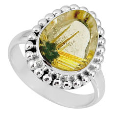 7.07cts natural golden star rutilated quartz 925 silver ring size 8 r60356