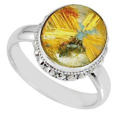 5.87cts natural golden star rutilated quartz 925 silver ring size 8 r60362