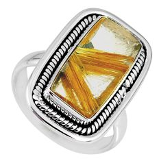 7.97cts natural golden star rutilated quartz 925 silver ring size 8 r60371